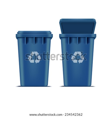 Vector Blue Recycle Bin for Trash and Garbage Isolated on White Background - stock vector