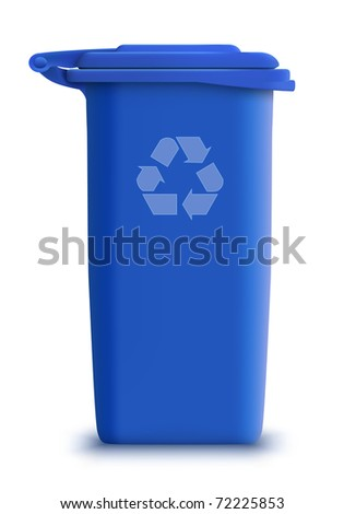 vector blue recycle garbage can - stock vector