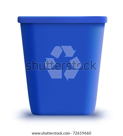 vector blue recycle garbage can