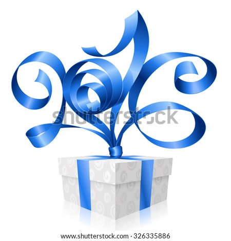 Vector blue ribbon and gift box. Symbol of New Year 2016 - stock vector