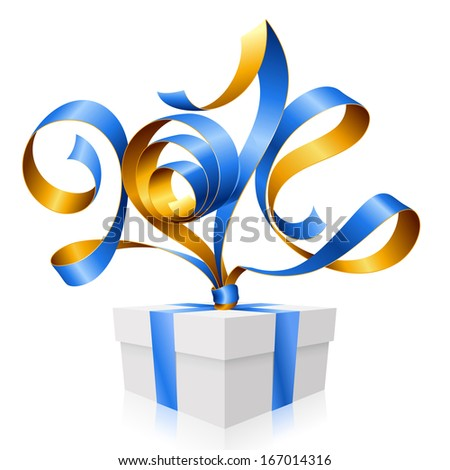 Vector blue ribbon in the shape of 2014 and gift box. Symbol of New Year - stock vector