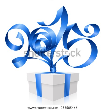 Vector blue ribbon in the shape of 2015 and gift box. Symbol of New Year - stock vector
