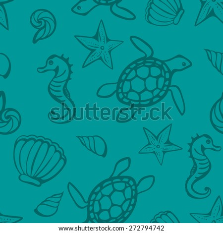 vector blue seamless background with marine creatures - stock vector