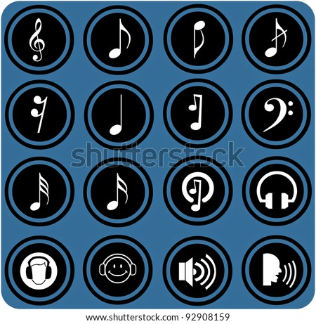 vector blue  signs. Various musical notes. simple music icons