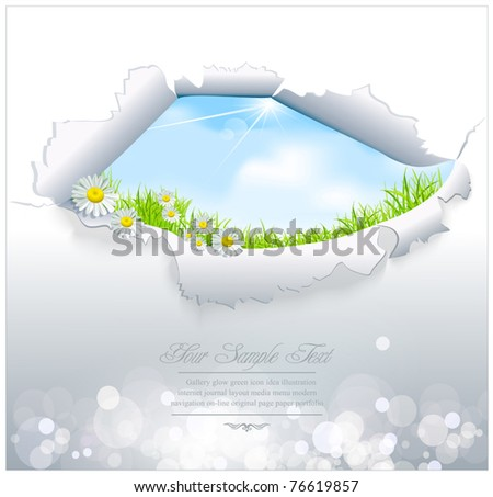 vector blue sky through the torn paper on a white background - stock vector