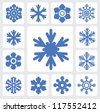 vector blue snowflakes icon set on white - stock vector