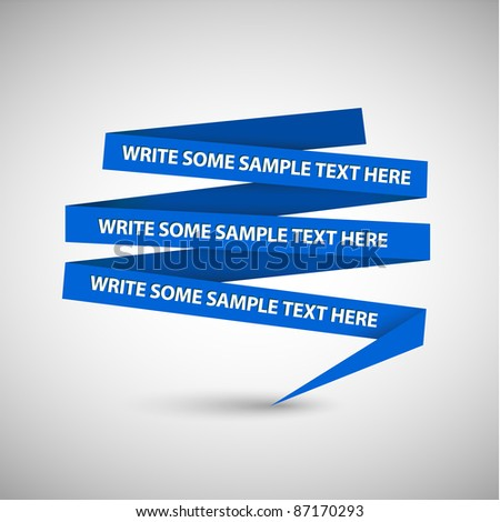 Vector Blue speech bubble made from paper on white paper - stock vector