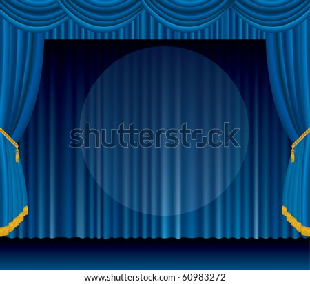 vector blue stage with big transparent spot light, EPS 10 file - stock vector