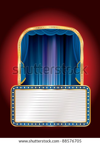 vector blue stage with blank billboard - stock vector