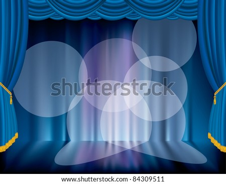 vector blue stage with blurry background - stock vector