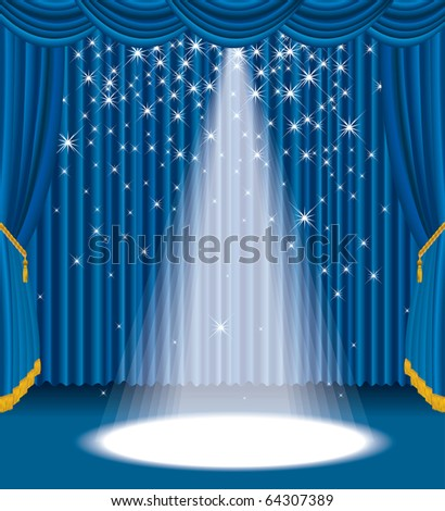 vector blue stage with falling stars, eps 10 file - stock vector