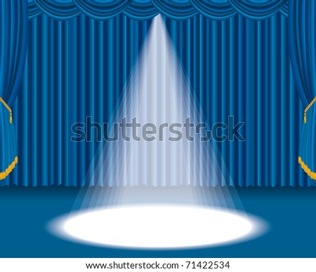 vector blue stage with one big spot light - stock vector