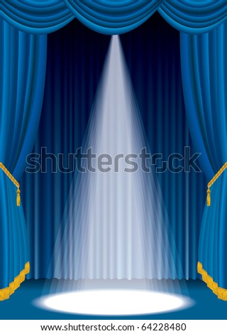 vector blue stage with one white spot light - stock vector