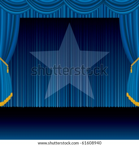 vector blue stage with spotlight star, eps 10 file - stock vector