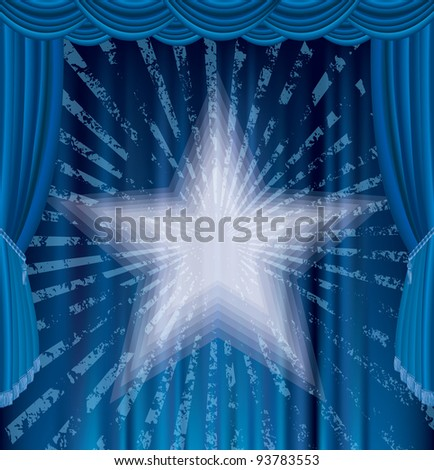 vector blue stage with star and grunge rays - stock vector