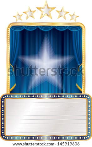 vector blue stage with stars and blank billboard
