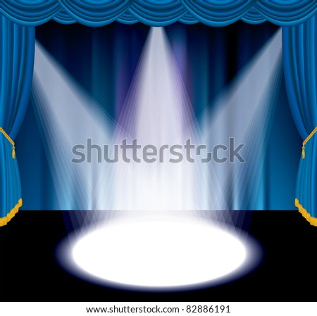 vector blue stage with three white spot light - stock vector