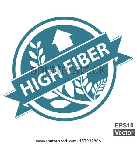 Vector : Blue Tag, Sticker, Label or Badge For Healthy Product or Product Information Present By High Fiber Ribbon With Crop, Cereal or Grain Sign Isolated on White Background  - stock vector
