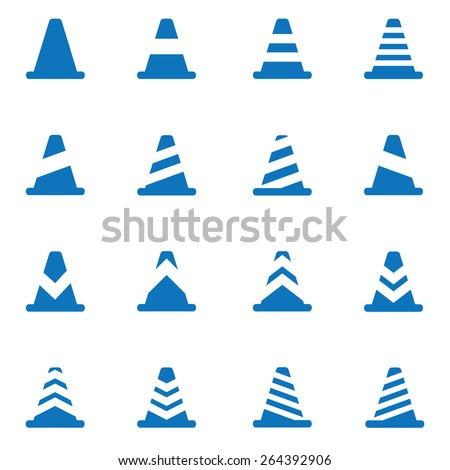 Vector blue traffic cone icons set - stock vector