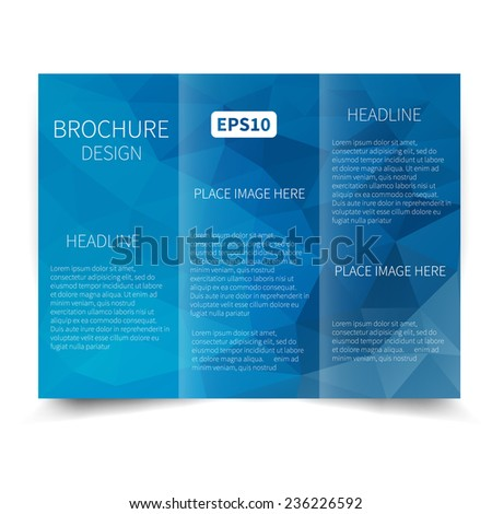 Vector blue tri-fold brochure design template with abstract geometric background EPS10 Tri-Fold Mock up & back Brochure Design