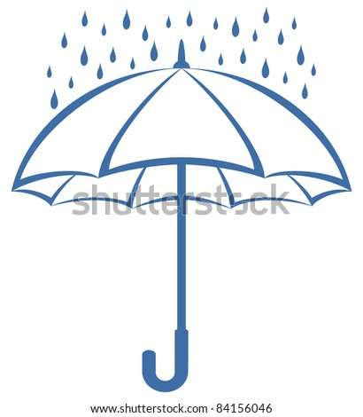 Vector, blue umbrella and rain drops, symbolical pictogram on white background - stock vector
