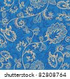 Vector blue wallpaper with beautiful abstract flowers - stock photo