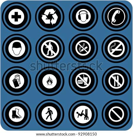 vector blue warning signs. - stock vector