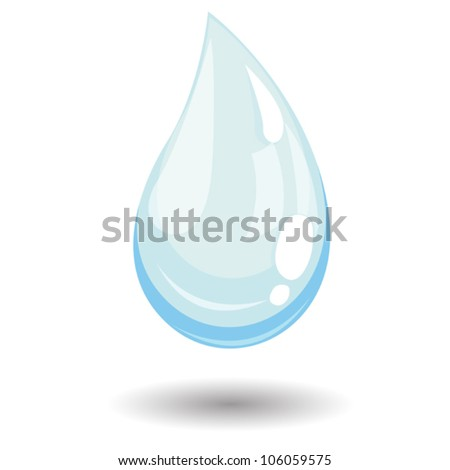 Vector blue water drop. Realistic looking illustration - clear shiny water