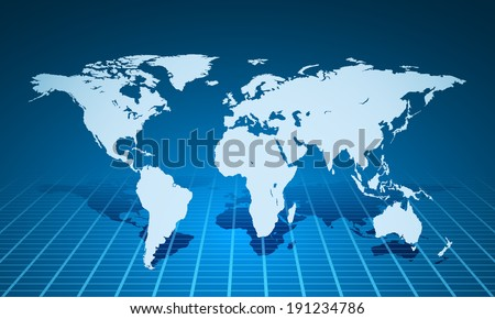 Vector blue world map illustration on blue background. - stock vector