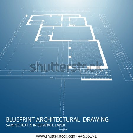 vector blueprint background with architectural drawing - stock vector