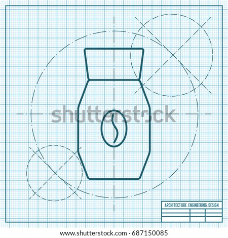 Vector blueprint coffee bottle template on stock photo photo vector blueprint coffee bottle template on engineer and architect background malvernweather Image collections