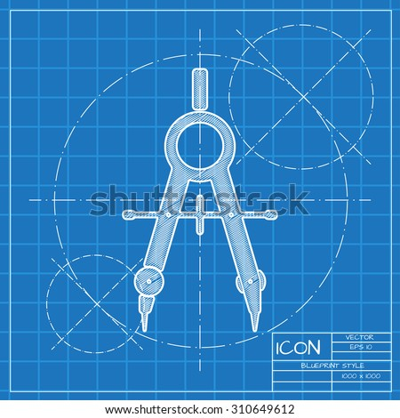 Vector blueprint compasses icon engineer architect vector de vector blueprint compasses icon engineer and architect background malvernweather Gallery