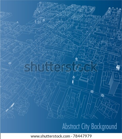 vector blueprint drawing of the old european town space - stock vector