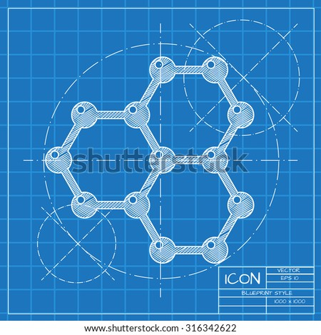 Vector blueprint graphene icon on engineer or architect background.  . Science illustration  - stock vector