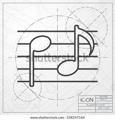 Stock Vector Vector Blueprint Of Music Icon On Engineer Or Architect Background on Easy Wiring Diagram Arrows