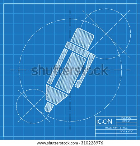 Vector blueprint pen icon . Engineer and architect background.  - stock vector