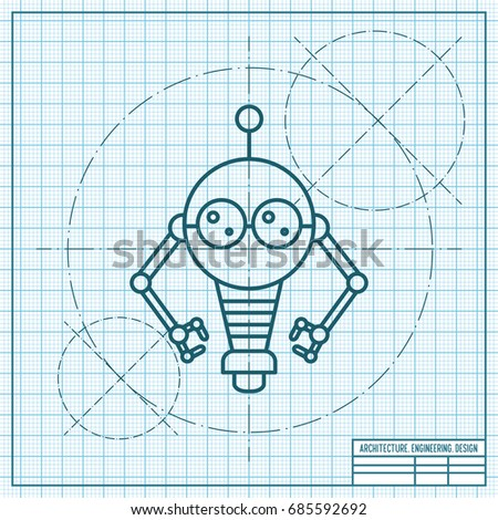 Vector blueprint retro robot toy icon vectores en stock 685592692 vector blueprint retro robot toy icon on engineer and architect background malvernweather Images