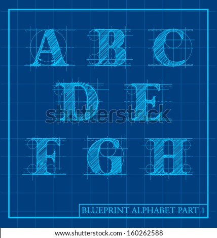 Vector blueprint style font alphabet set stock photo photo vector vector blueprint style font alphabet set 1 malvernweather Gallery