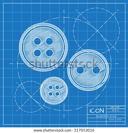 Vector blueprint tailor button icon on engineer or architect background.   - stock vector