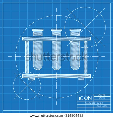 Vector green small thermometer icon eps10 stock vector 206371204 vector blueprint test tube icon on engineer or architect background malvernweather Images