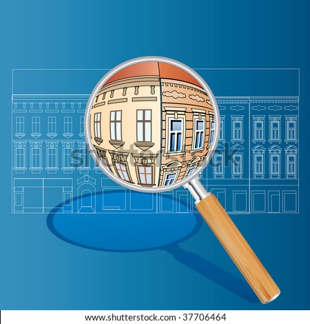 vector blueprint with color magnify - stock vector