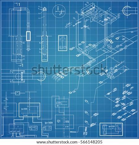Vector blueprint electrical stock vector 566148205 shutterstock vector blueprint with electrical malvernweather Choice Image