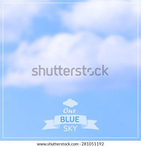 Vector blurred background - blue cloudy sky