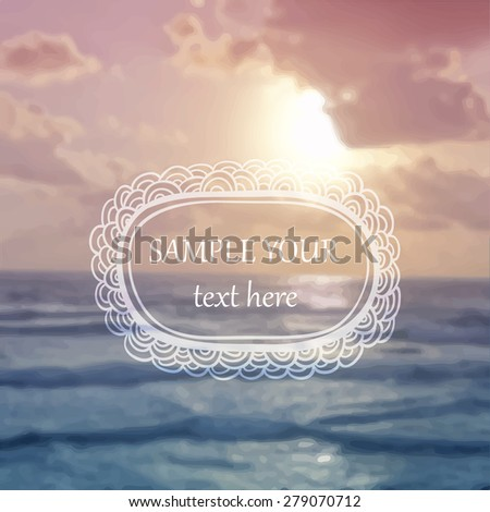 Vector blurred background. Sea sunset - stock vector