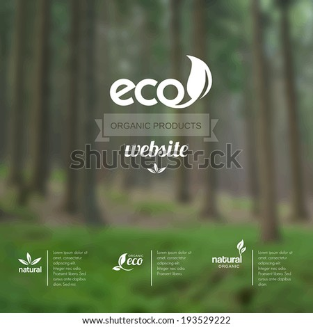 Vector blurred background - template for eco website or leaflet. - stock vector