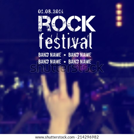 Vector blurred background with rock stage and crowd. Rock concert design template with hand and place for text. - stock vector
