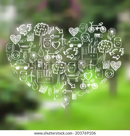 Vector blurred forest and heart from hand drawn ecological icons, label on the background of nature view. Web,mobile interface template, website template.Blur backdrop.Ecological and green environment - stock vector