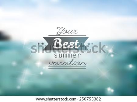 Vector blurred landscape background. Corporate website design. Minimalistic web multifunctional media backdrop. Editable. Unfocused. Ocean. - stock vector