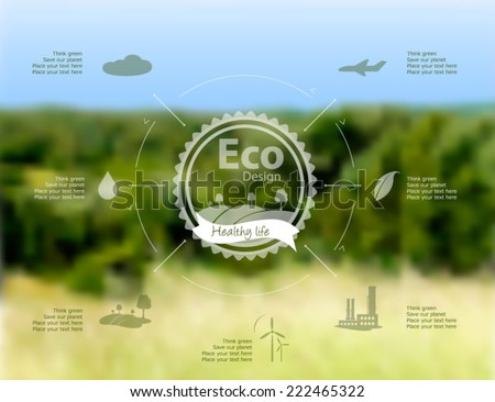 Vector blurred landscape background with eco label on it.  Environmental icons factory, wood, plane and other. Web interface design. Think green. Environmentally friendly Concept. - stock vector