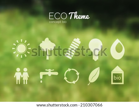 Vector blurred landscape, forest, ecology icons, nature view. Forest blur background, web and mobile interface template. Eco design with icons - stock vector